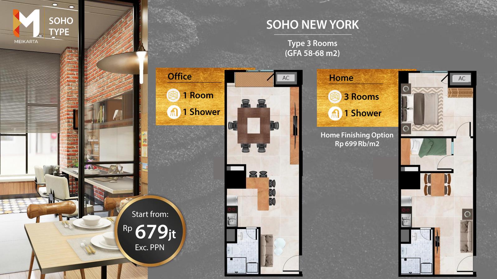 denah unit soho new york apartemen meikarta cikarang - kadungcampur