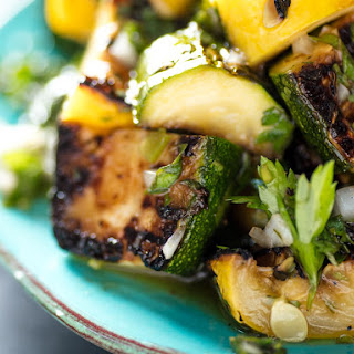 Grilled Summer Squash With Chimichurri.