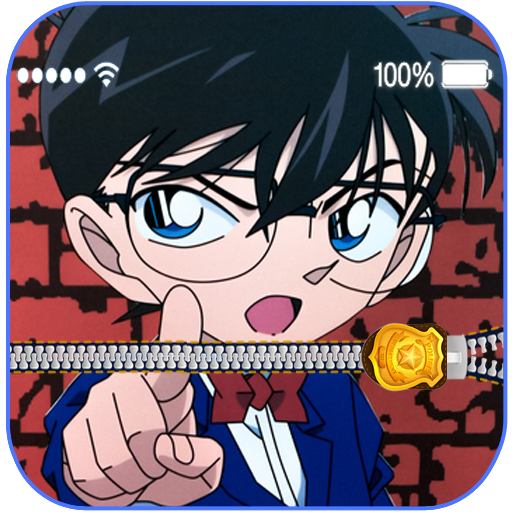 Conan Zipper Lock Screen: anime mobile lock screen