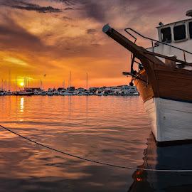 Morska Vila Sunset by Branko Meic-Sidic - Transportation Boats ( croatia, orange, beautiful, pirovac, hdr, sunset, dramatic, meicsidic )