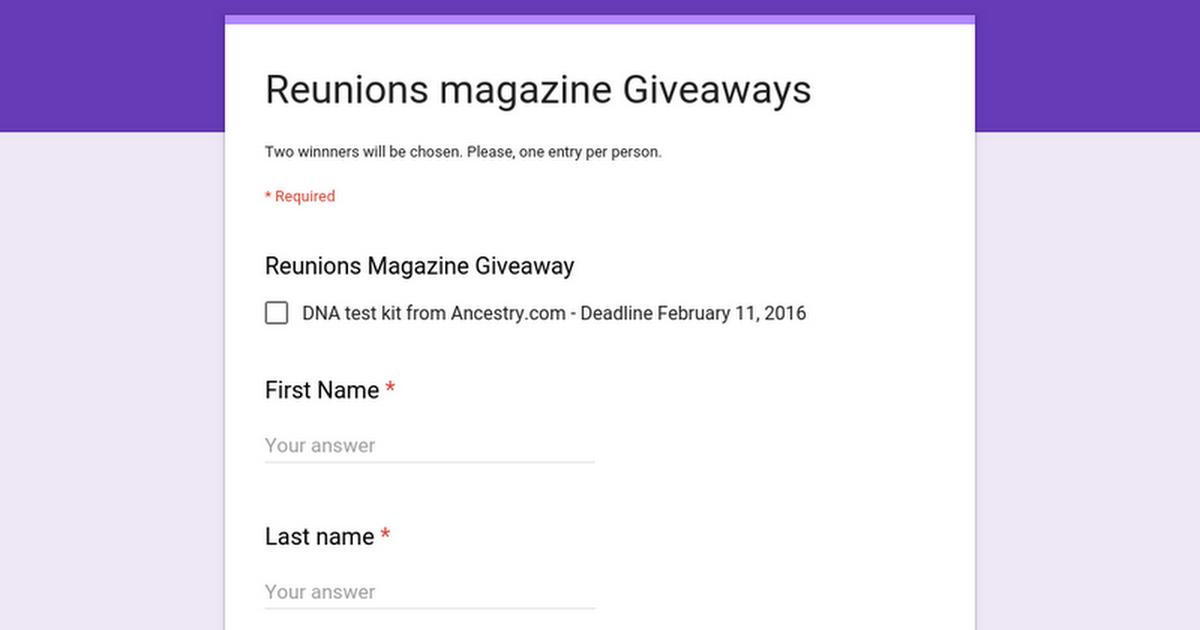 Reunions magazine Giveaways
