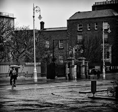 Photo: Out and about in Dublin today and it was very very wet. This is about the best I could get. I just think it's mad trying to cycle whilst holding a brolly.