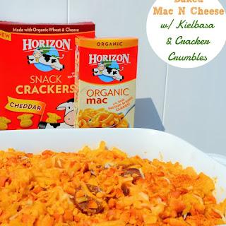 Baked Mac N Cheese with Kielbasa & Cracker Crumbles