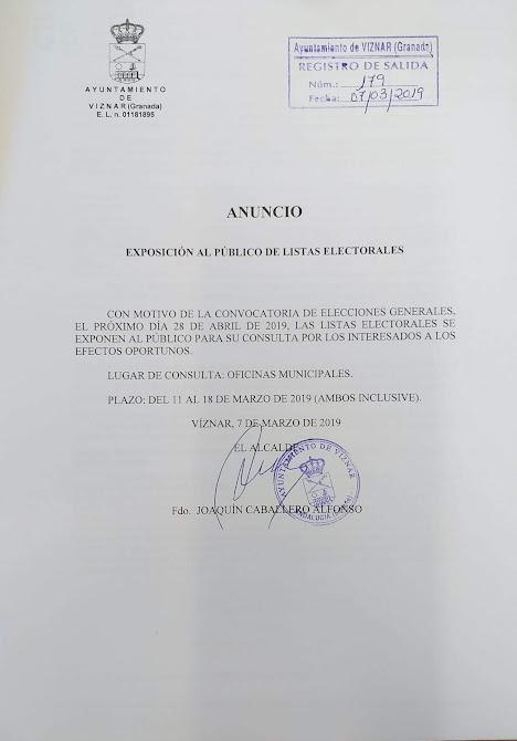 ListaElectoralesViznar2019