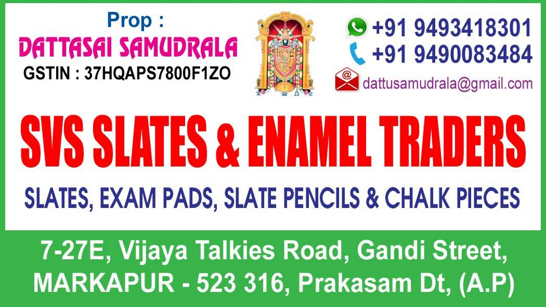 SVS SLATES AND ENAMEL TRADERS - All type of exam pads,slates,chalk