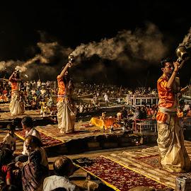 Gangarati, VARANASI by Arup Ratan Haldar - City,  Street & Park  Night