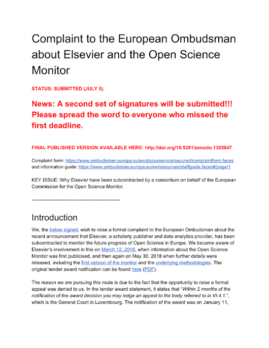 Complaint to the European Ombudsman about Elsevier and the Open Science Monitor