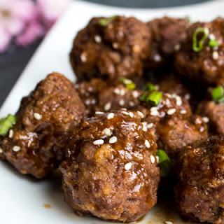 Chinese Beef Meatballs with Hoisin Ginger Sauce.