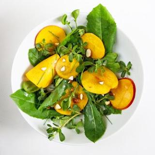 Dandelion, Purslane, Watercress Salad with Nectarines