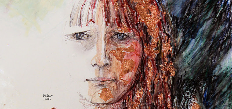 "Photo: Mirrorless Self-Portrait Series, sketch 1 final -detail, 28.5cm x 42cm, 11 1/4"" x 16 1/2"", graphite, watercolour pencils, Cretacolor aquastics, copper leaf in a Moleskine A3 Sketchbook."