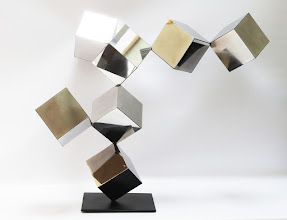 Photo: 42 REFLECTIONS - 33H X 40W X 25D Polished Stainless Steel, Painted Mild Steel,  Rear View