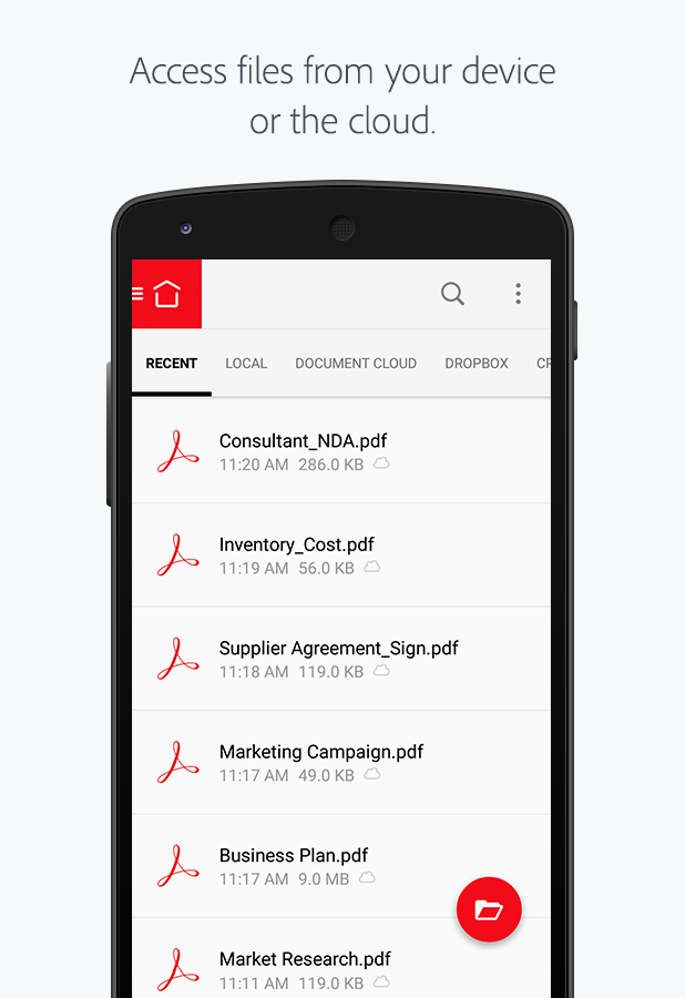 Screenshots of Adobe Acrobat Reader for Android