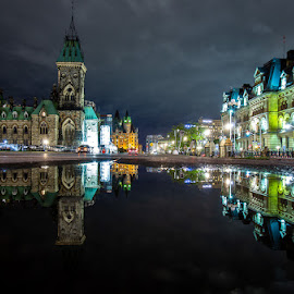 reflecting  by Roland Bast - Buildings & Architecture Public & Historical ( canada, reflections, nightscape, ottawa, architecture )