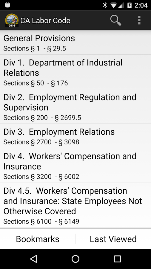 2016 CA Labor Code- screenshot