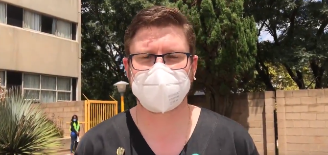 Dr Jarrod Zamperini received Gauteng's Covid-19 patient zero in March last year. He was the first health worker to be vaccinated at Charlotte Maxeke Hospital.