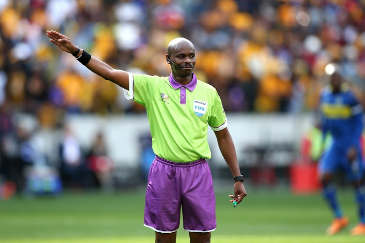 Referee Thando Ndzandzeka during the Absa Premiership match between Cape Town City FC and Kaizer Chiefs at Cape Town Stadium on September 15, 2018 in Cape Town, South Africa.
