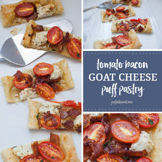 Tomato Bacon Goat Cheese Puff Pastry Appetizer.