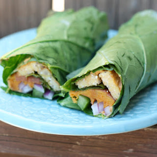 Tempeh and Sweet Potato Collard Wraps