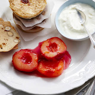 Sweet Ricotta with Poached Plums.