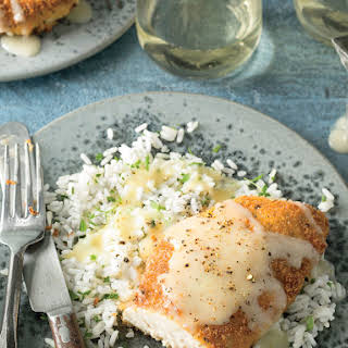 Pam Lolley's Crispy Chicken with Rice and Pan Gravy.