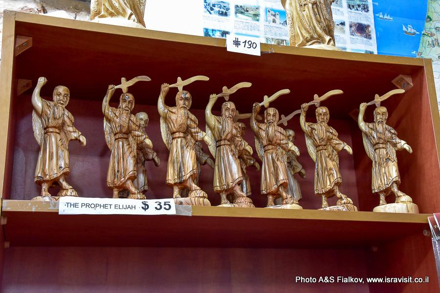 Сувенирные скульптуры Пророка Илии. Монастырь в Мухраке. Экскурсия по Кармельским горам гида в Израиле Светланы Фиалковой.