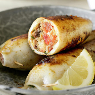 Squid Stuffed with Feta, Parsley and Chorizo