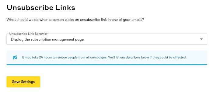 Unsubscribe link behavior