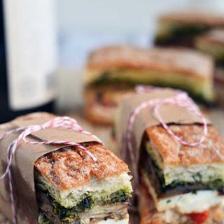 Eggplant, Prosciutto, & Pesto Pressed Picnic Sandwiches