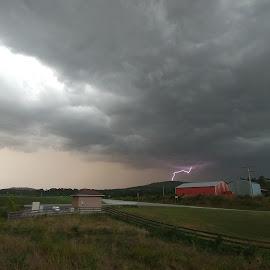 Beautiful storm by Laura Walden - Landscapes Weather ( lightning, sky, storm, barn, dangerous )
