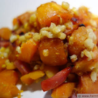 Roasted Acorn and Butternut Squash with Corn and Smoked Sausage.