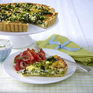 Vegetable Tart with Tomato Salad and Cottage Cheese.