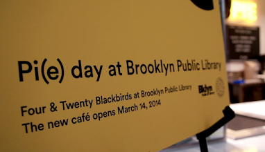 "Photo: Pi(e) day at the Brooklyn Public Library. Promotional spot for the Four & Twenty Blackbirds opening ceremony on Pi(e) Day at the Brooklyn Public Library. Watch ""Pi(e) day at the Brooklyn Public Library"" on Vimeo Channel: https://vimeo.com/channels/pieday"