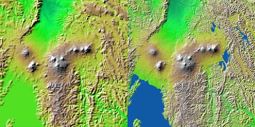 Shaded Relief with Height as Color, Virunga and Nyiragongo Volcanoes and the East African Rift Valley