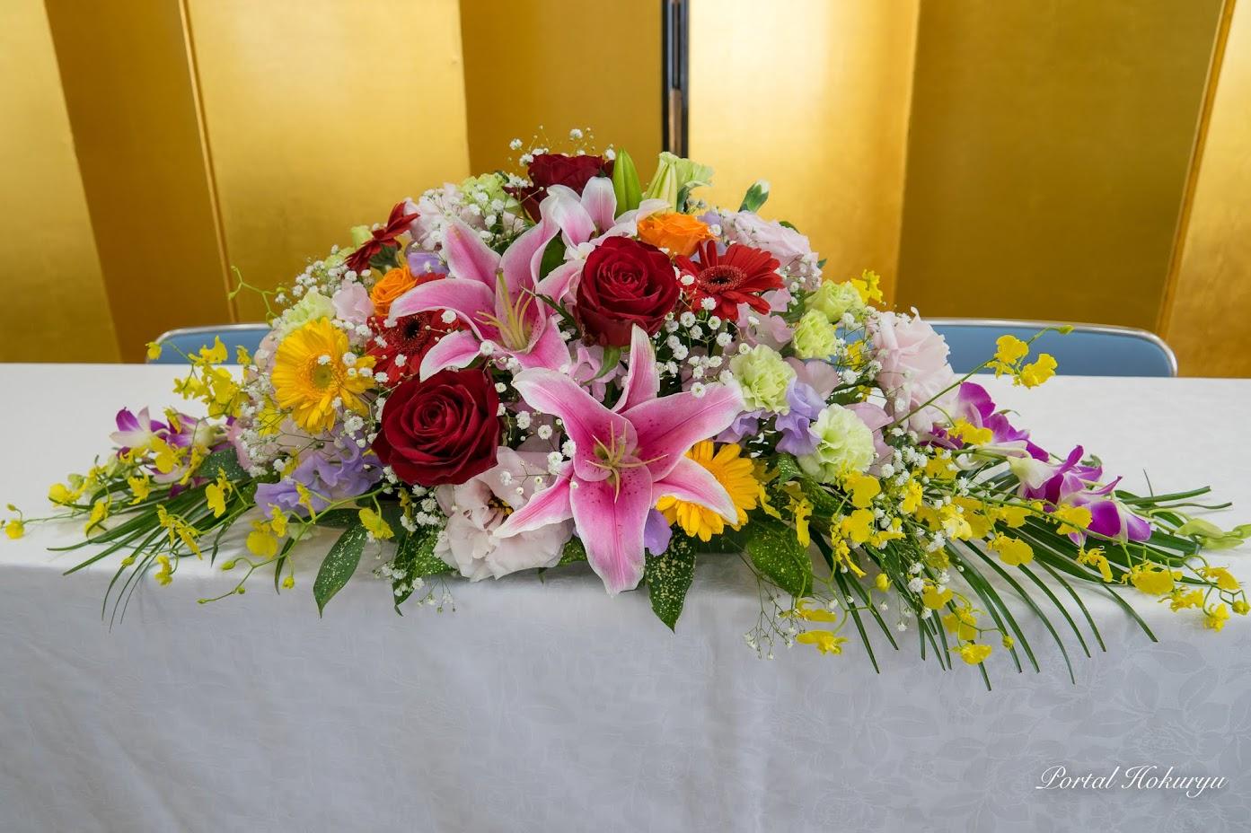 祝賀会を飾る花