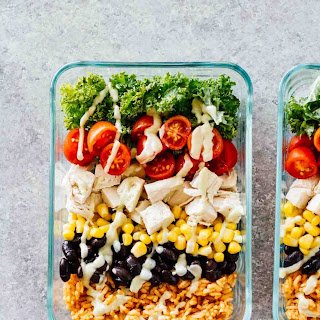 Meal Prep Southwest Chicken Burrito Bowls.