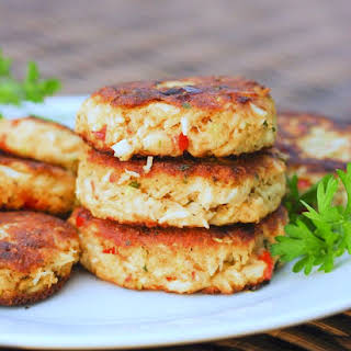 Classic Old Bay Crab Cakes with Roasted Red Peppers.