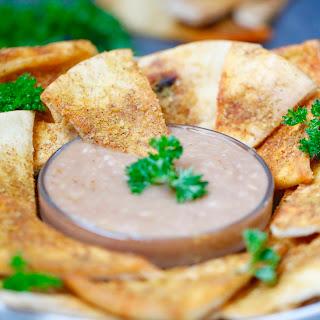 Chili Cheese Pita Wedges + BBQ Hummus Dip.