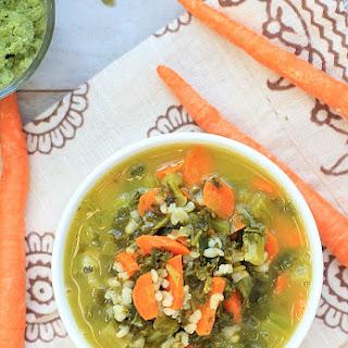 Kale & Basmati Soup w/ Pumpkin Seed Pesto.