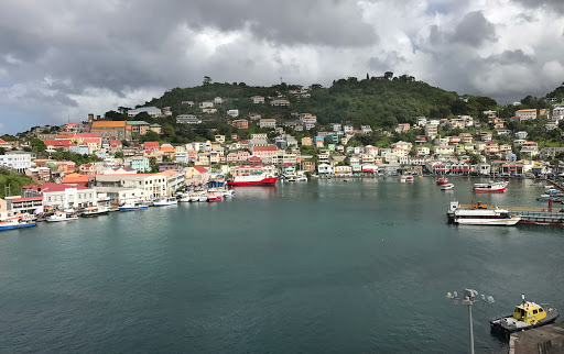 The colorful horseshoe-shaped harbor at St. George's, capital of Grenada.