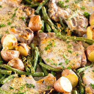 One Pan Parmesan Pork Chops and Veggies.