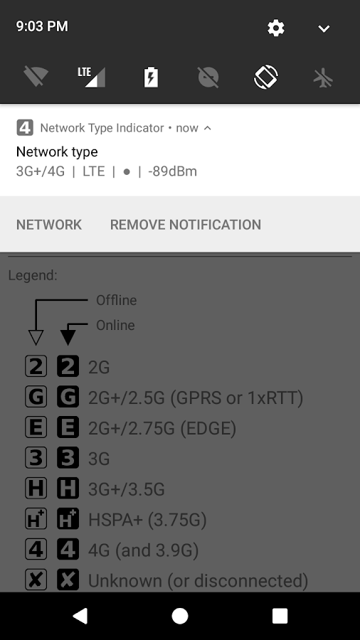 Network Type Indicator- screenshot