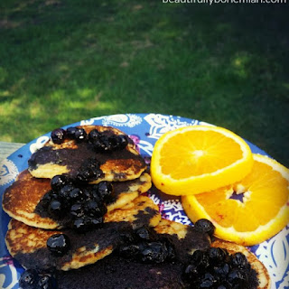 Homestyle Vegan Pancakes with Blueberry Syrup
