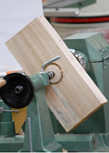 Photo: Here he has made the tenon.  This could also be used for expansion griping jaws as well.