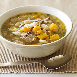 Turkey Sausage, White Bean and Butternut Squash Soup.