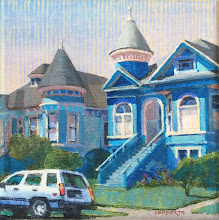 """Photo: Blue Victorians, acrylic on canvas 6"""" x 6"""", by Nancy Roberts, copyright 2015. Private collection."""