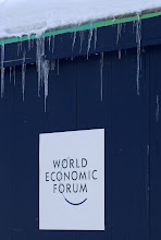 Photo: DAVOS/SWITZERLAND, 24JAN05 - Icicles pointing to the World Economic Forum sign. Impression of the making of the Annual Meeting 2005 in Davos, Switzerland, January 24, 2005. 