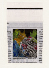 Photo: Sinister Instrument... French Horn. Watercolor and gold leaf on news paper, (70 x 120 mm).