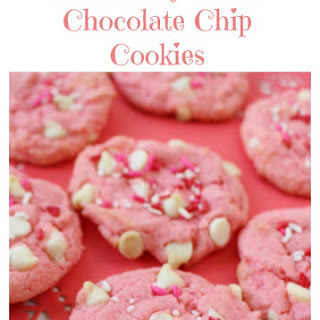 Strawberry White Chocolate Chip Valentines Cookie.