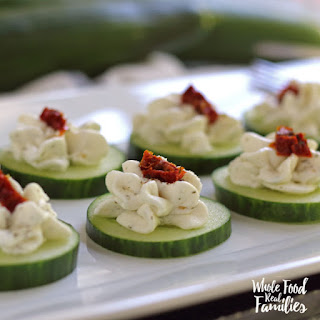 Cucumber Bites with Sundried Tomato Ribbons.