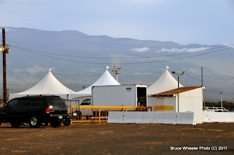 """Photo: The NAPA Auto Parts """"hospitality tents,"""" set up for Ron Capps' meet 'n' greet session later in the evening."""
